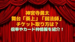 神宮寺 勇太 舞台 チケット